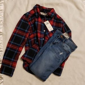 abercrombie kids plaid short and jeans